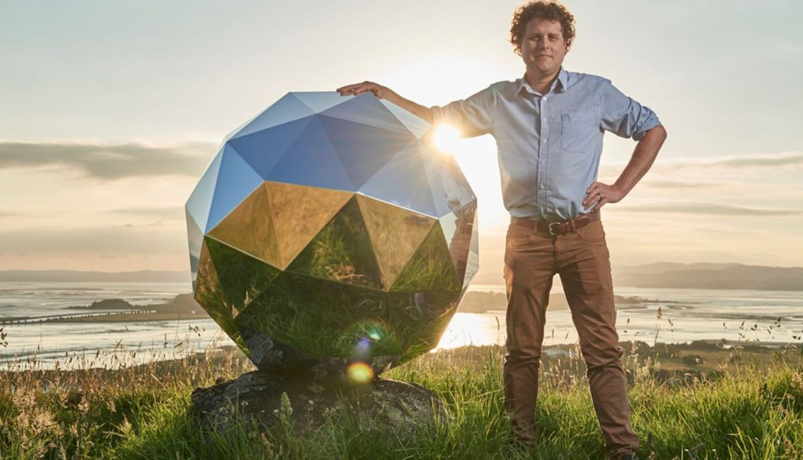 Peter Beck with 'Humanity Star', New Zealand's first satellite